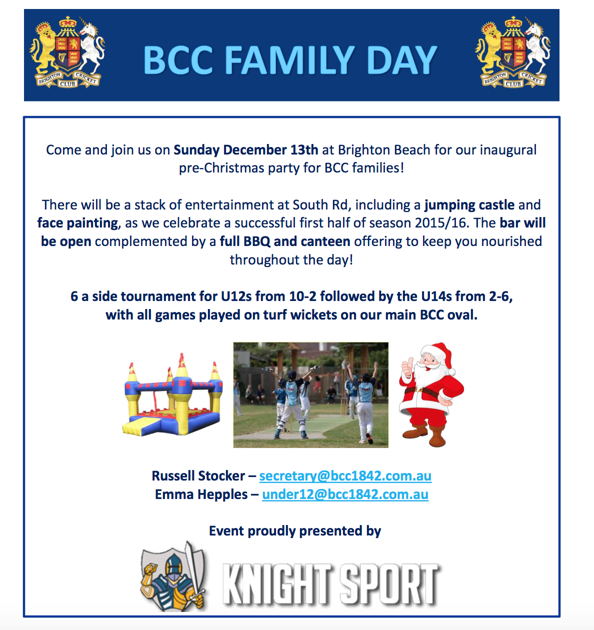 Brighton Cricket Club | Christmas Family Day