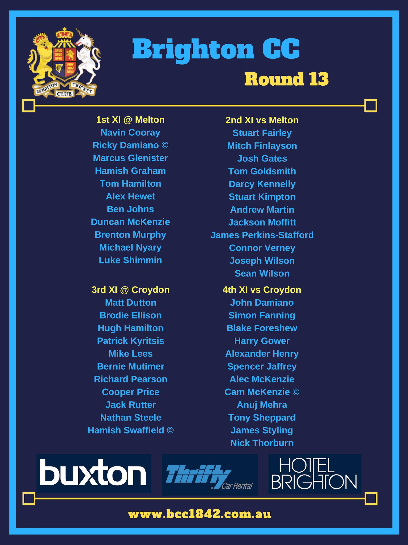Teams 2018-19 Round 13